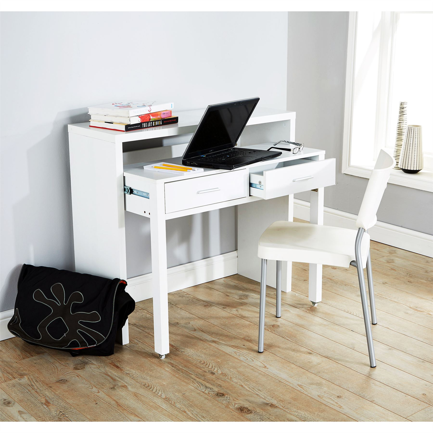 laptop desk wall convertible decor out table storage homcom with shelf mounted white fold home
