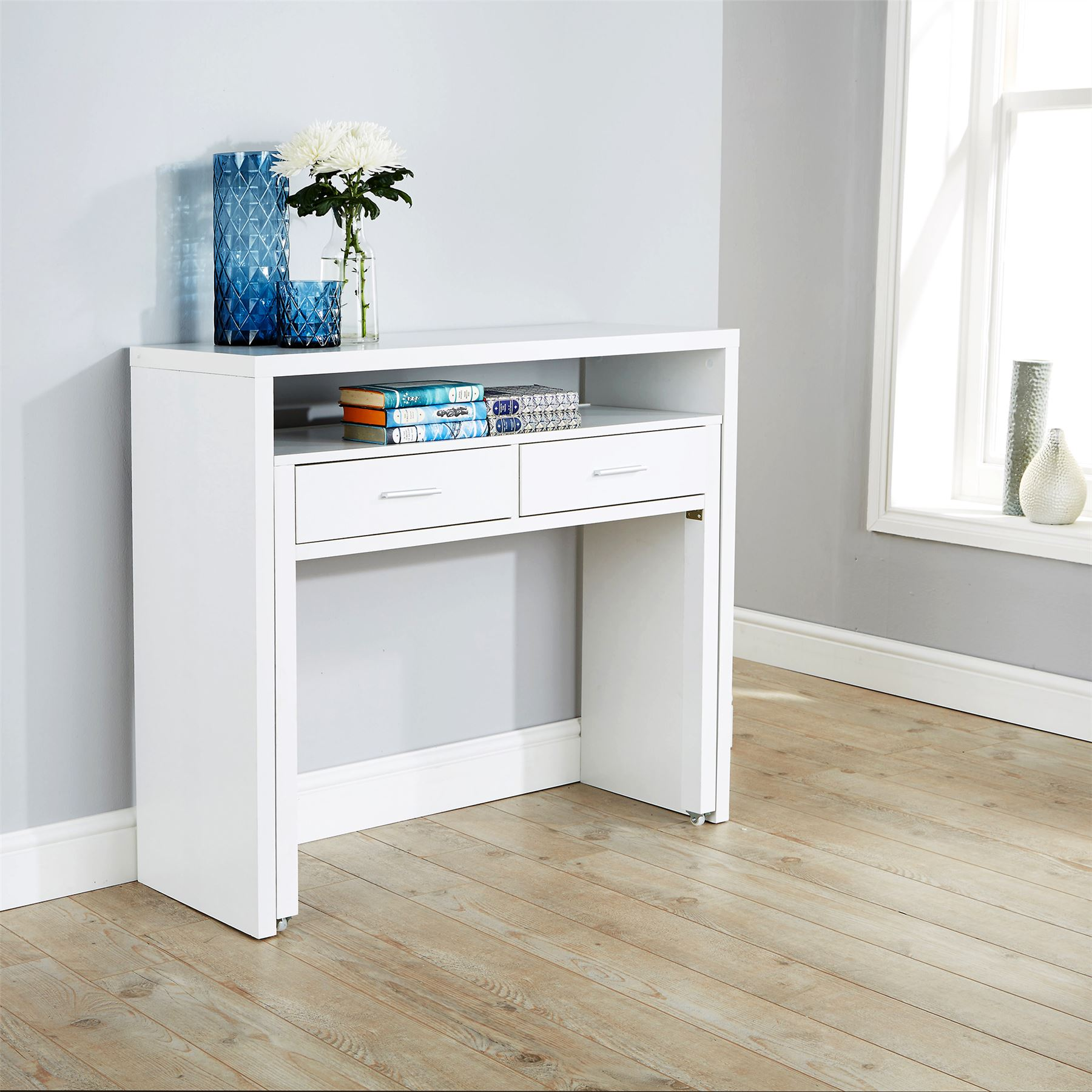 REGIS EXTENDING CONSOLE TABLE STUDY COMPUTER DESK 2 DRAWERS ...