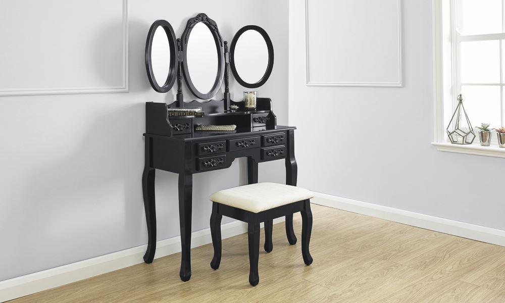 black vanity table without mirror. ARABELLA DRESSING TABLE SET VANITY MAKEUP DESK W  PADDED STOOL 3