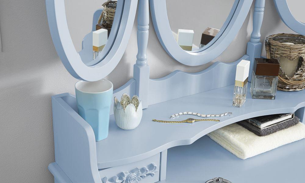 ARABELLA DRESSING TABLE SET VANITY MAKEUP DESK W/ PADDED STOOL & 3 ...