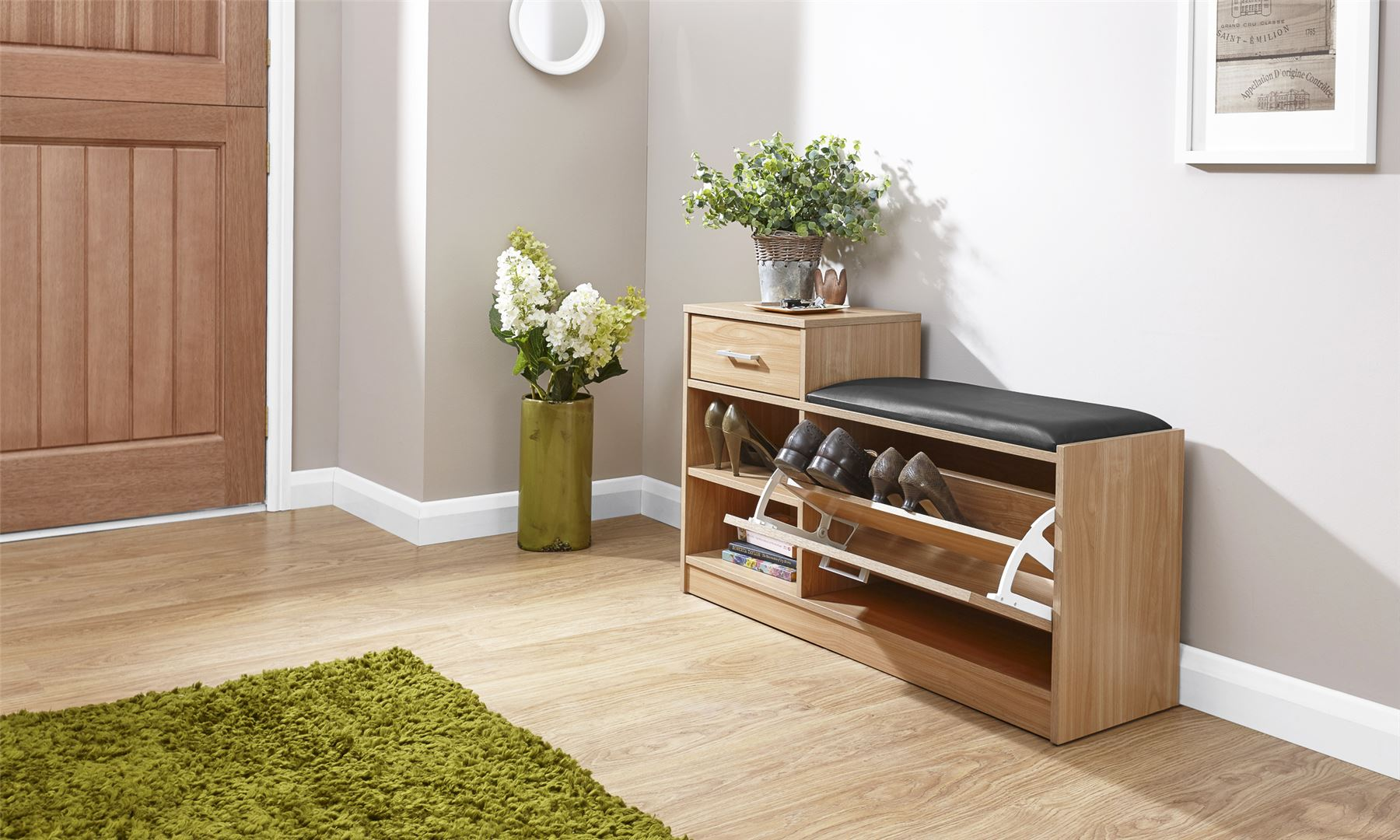 MALMO SHOE BENCH PADDED SEAT W 1 DRAWER SIDE TABLE STORAGE CUPBOARD