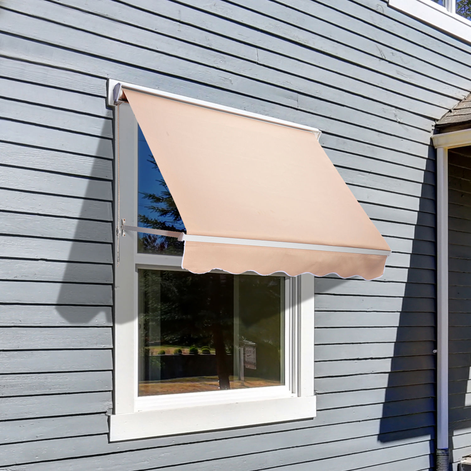 sun shelter back outsunny patio door retractable living manual front waterproof rain outdoor shade cover awning canopy