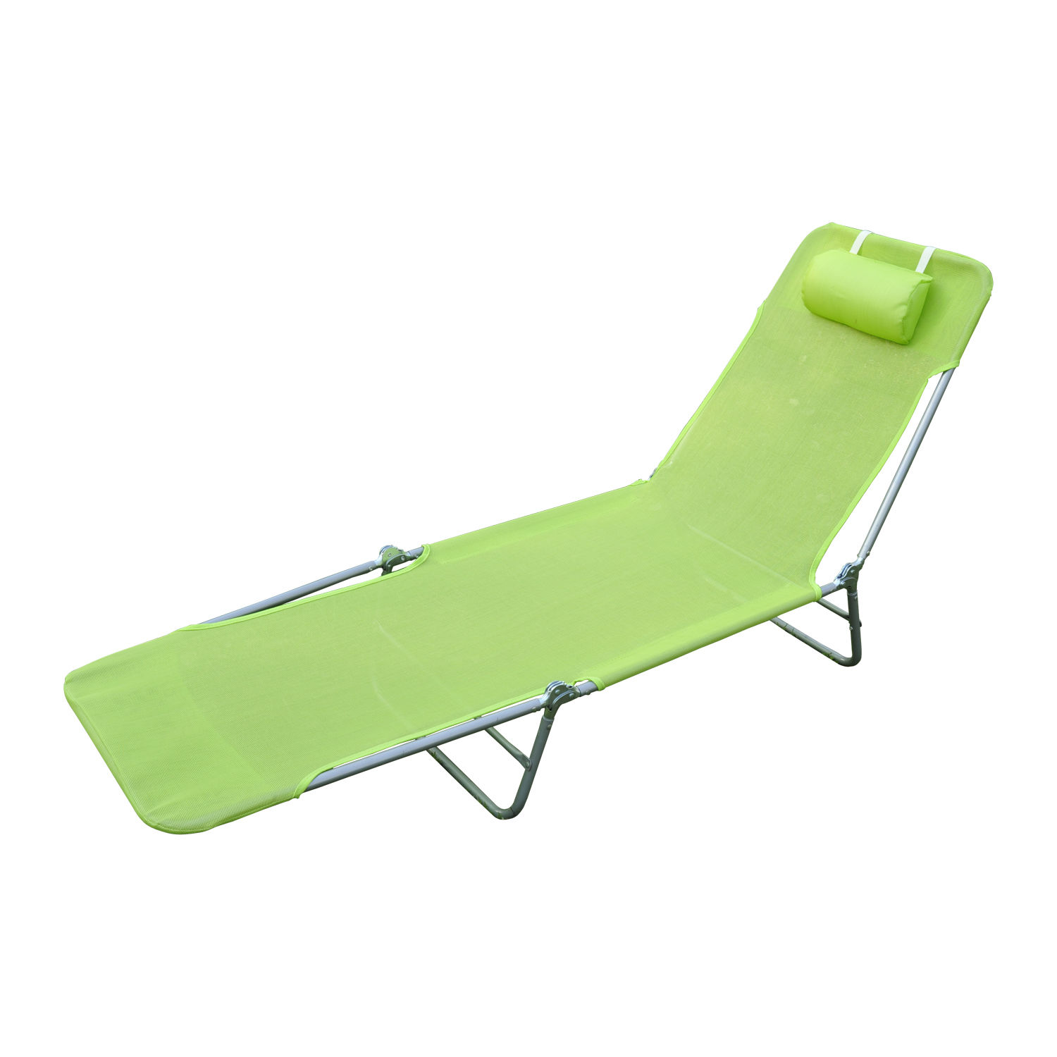 Superbe Details About Foldable Chaise Lounge Adjustable Patio Cot Reclining Beach  Chair W/Pillow Green