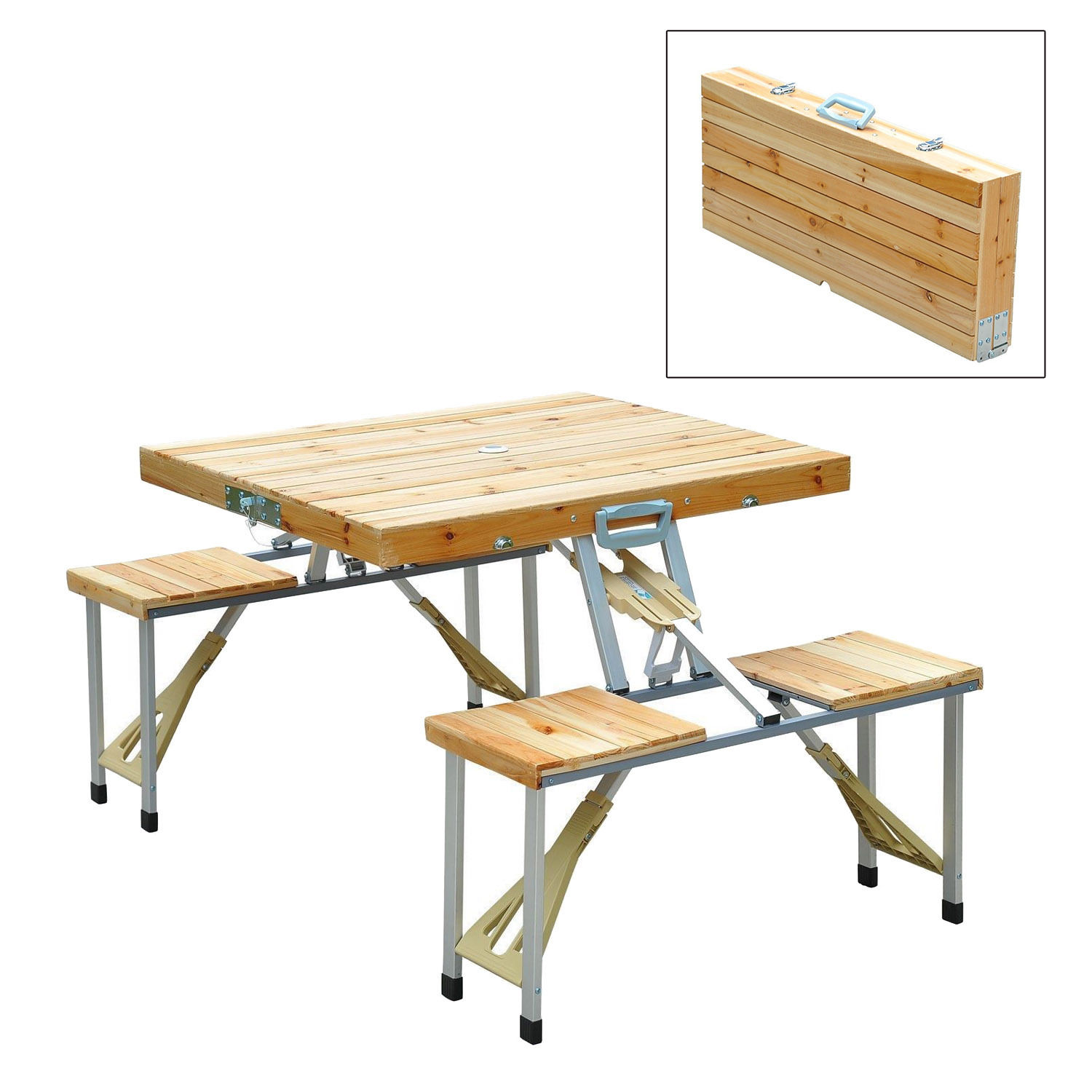 Wooden Camping Picnic Table Bench Seat Outdoor Portable Folding ...