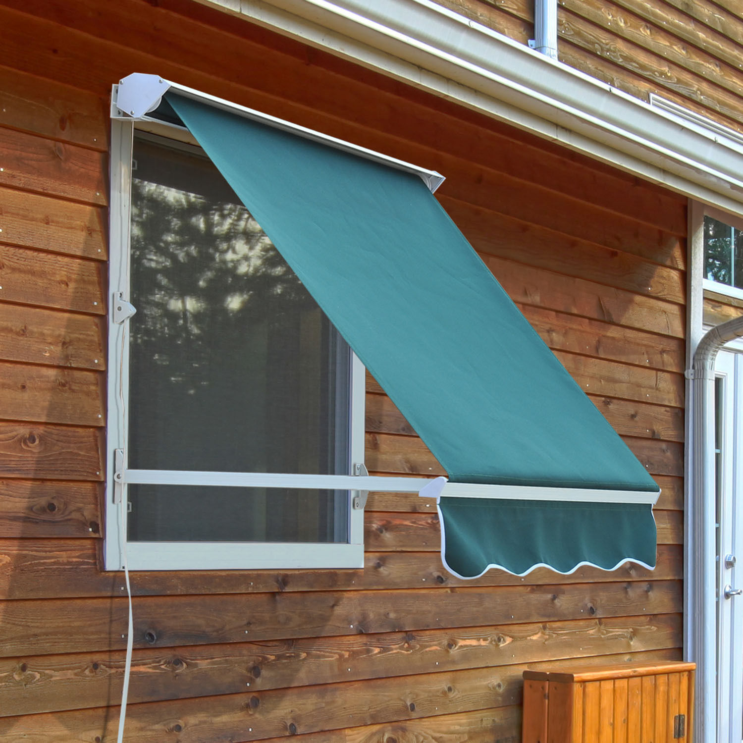 Outsunny Drop Retractable Window Awning Canopy Sun Shade ...