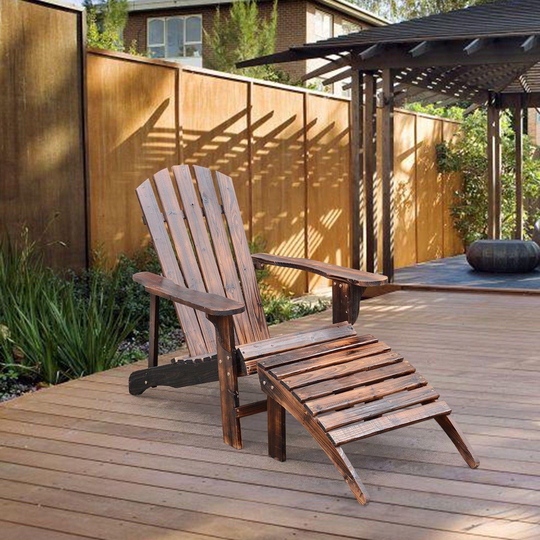 Adirondack Outdoor Patio Deck Wood Lounge Chair Seat W Ottoman