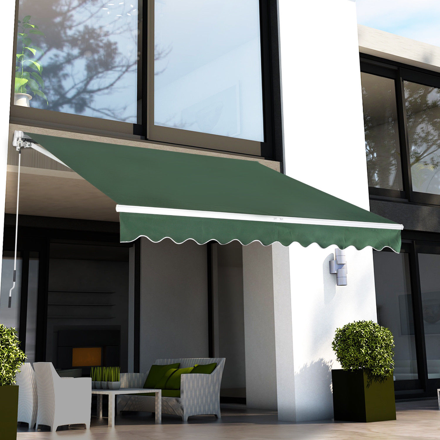 cover waterproof back patio front shelter outsunny living retractable awning manual rain canopy outdoor sun door shade