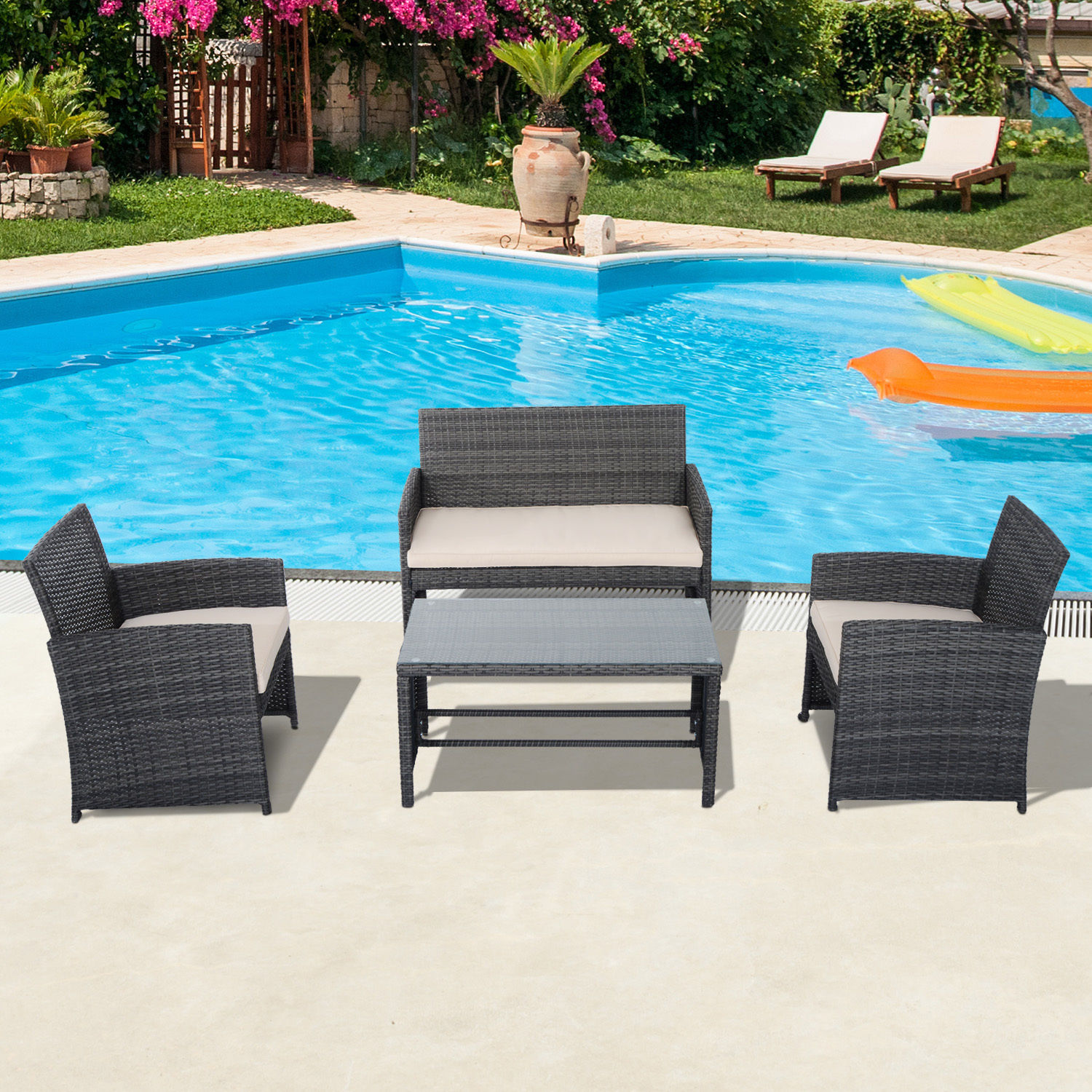 Details about 4PC Outdoor Rattan Wicker Sofa Set Sectional Patio Furniture Table Chair & 4PC Outdoor Rattan Wicker Sofa Set Sectional Patio Furniture Table ...