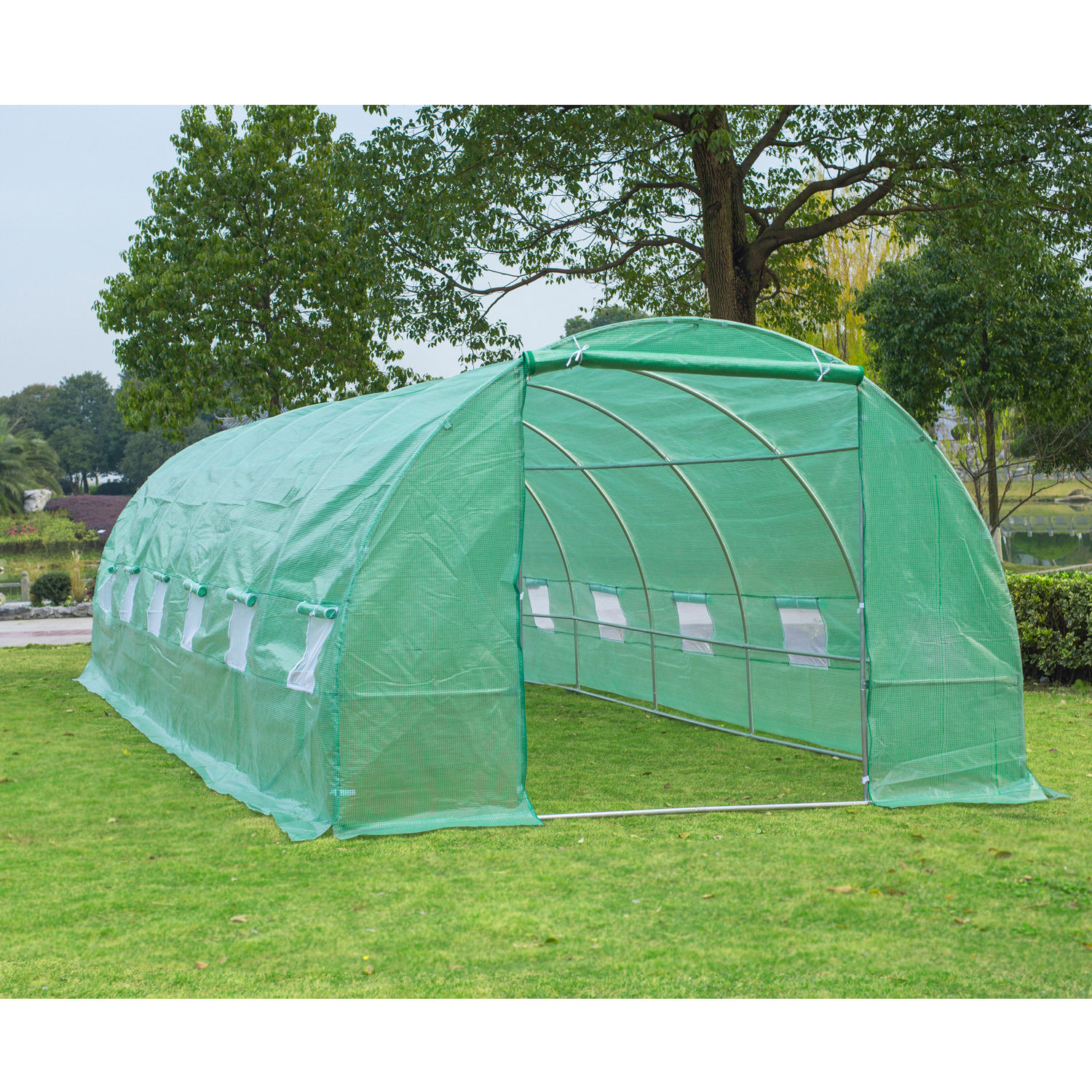 Outsunny 26\'x10\'x7\' Greenhouse Walk In Larger Garden Outdoor Plant ...