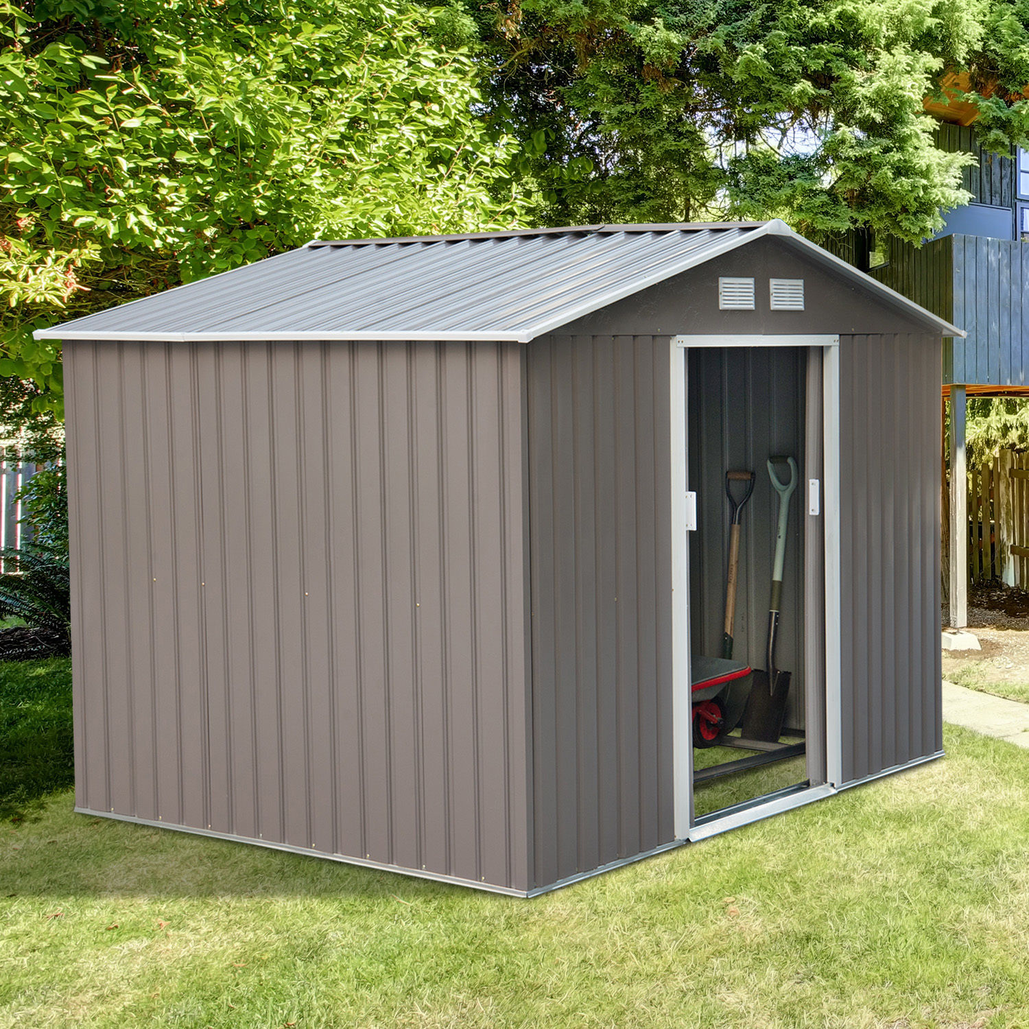 outsunny 9 x6 metal garden storage shed steel tool house utility rh ebay com Storage Houses Live In storage house for backyard