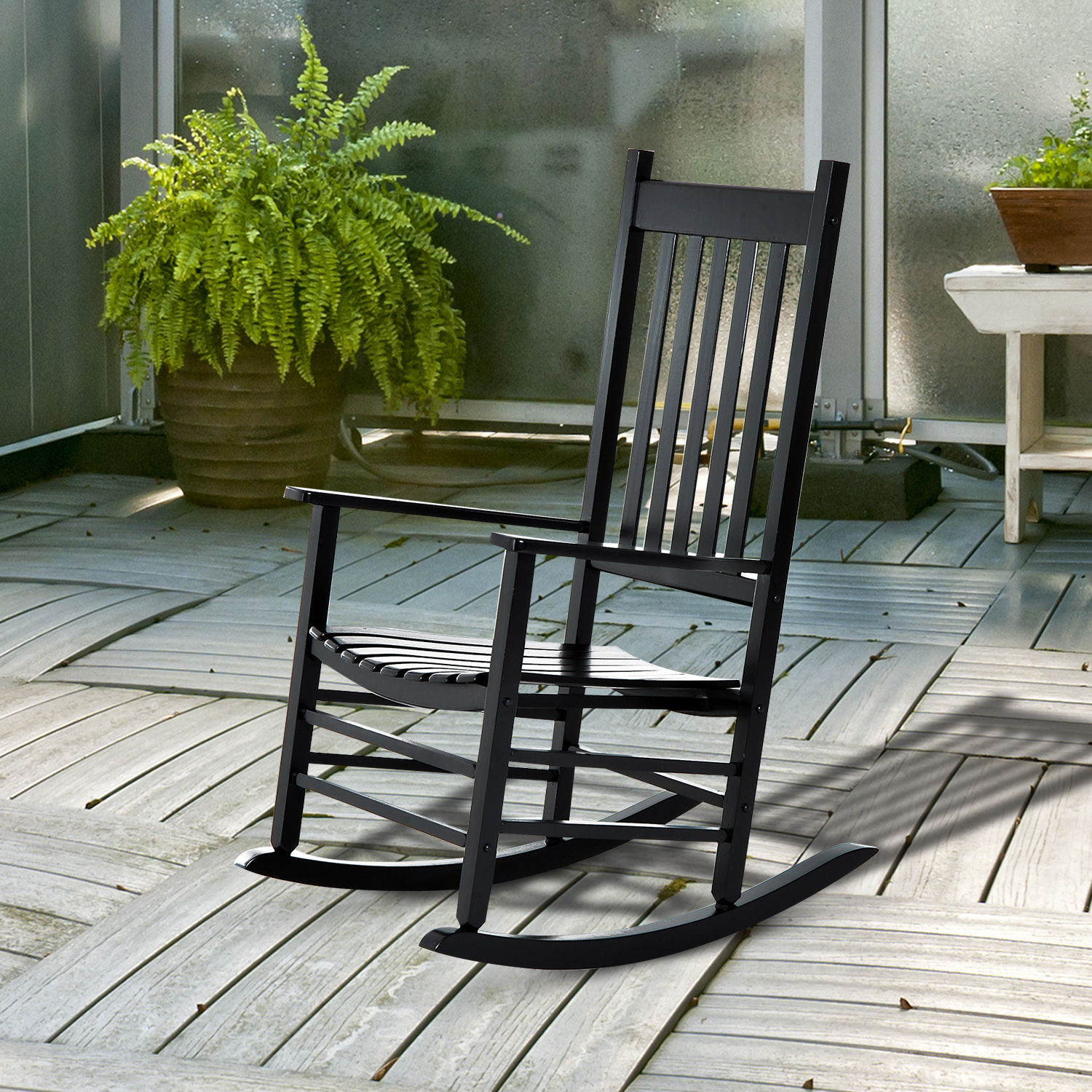 Picture of: Porch Rocking Chair Outdoor Patio Wooden Rocking Chair Black 712190178215 Ebay