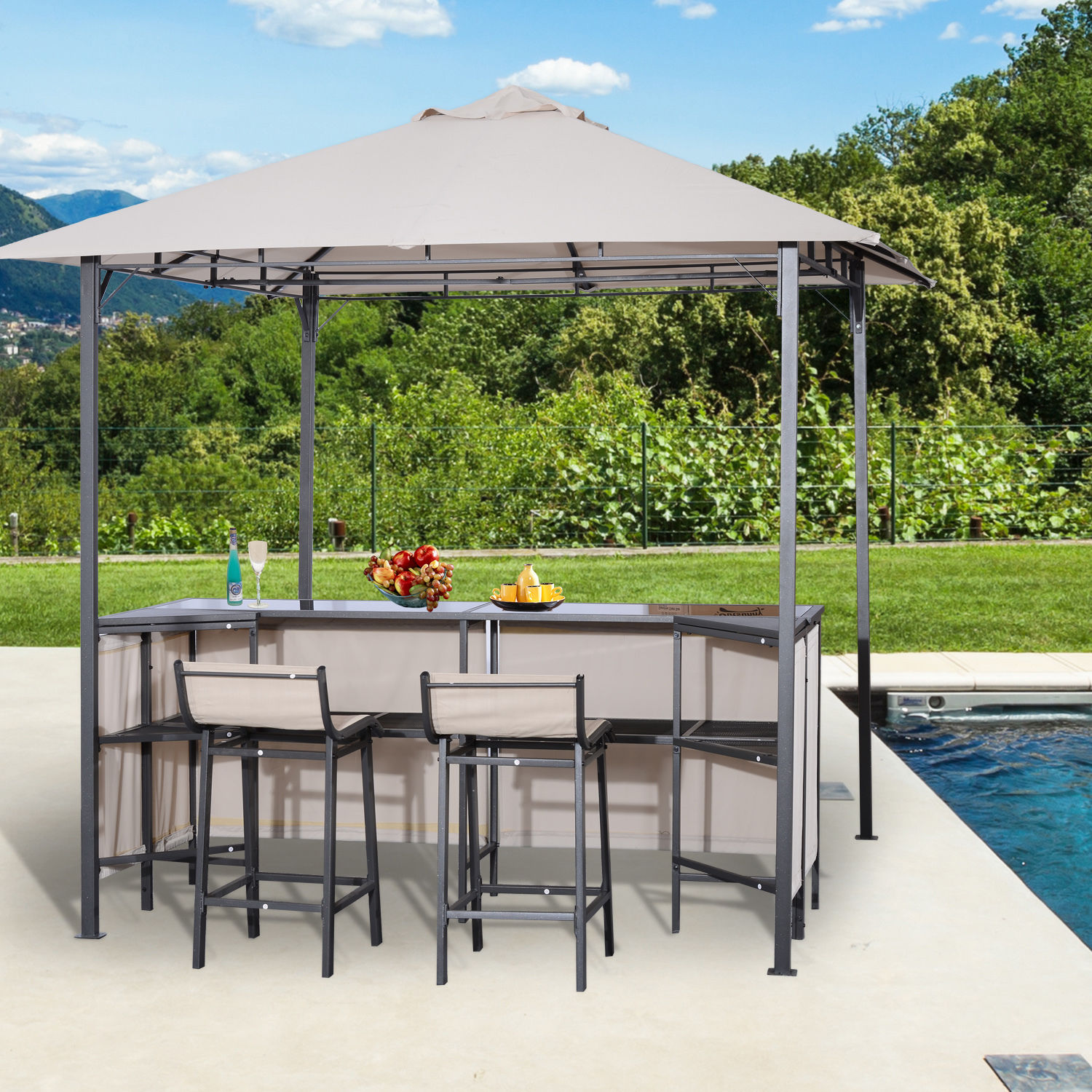 Super Details About Outsunny Outdoor Bar Table Set Cloth Canopy 2 Chairs Patio Backyard Furniture Machost Co Dining Chair Design Ideas Machostcouk