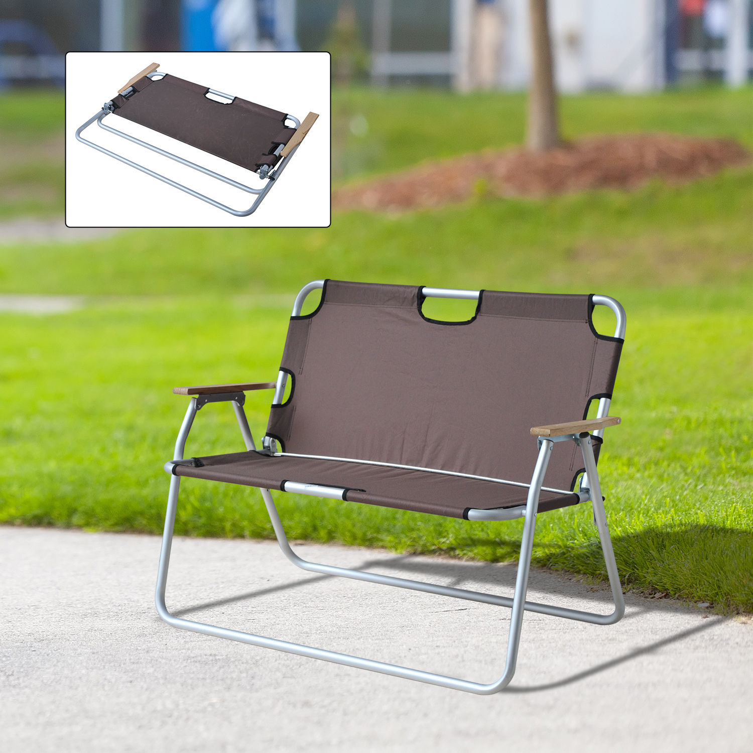 Outdoor 2 Seat Camping Bench Garden Lounge Lawn Chair Foldable ...