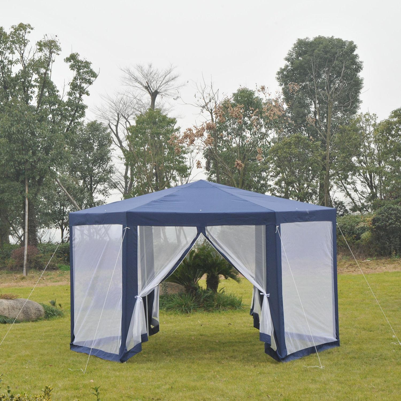 Hexagonal-Patio-Gazebo-Outdoor-Canopy-Party-Tent-Activity-Event-w-Mosquito-Net thumbnail 16