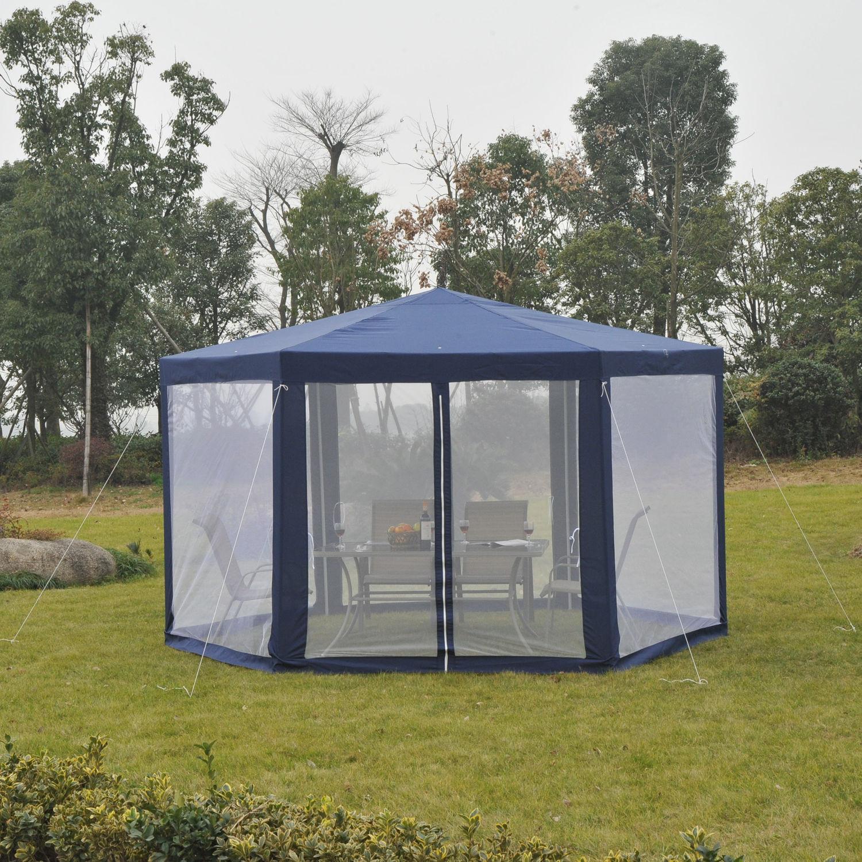 Outsunny-Patio-Gazebo-Netting-Canopy-Garden-Party-Tent- & Outsunny Patio Gazebo Netting Canopy Garden Party Tent Steel ...