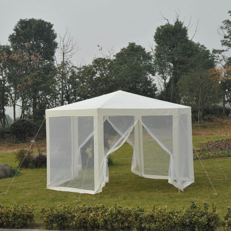 Outsunny Patio Gazebo Netting Canopy Garden Party Tent Steel