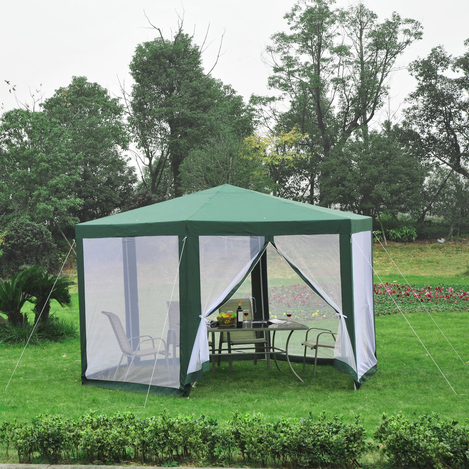Outsunny Patio Gazebo Netting Canopy Garden Party Tent Steel
