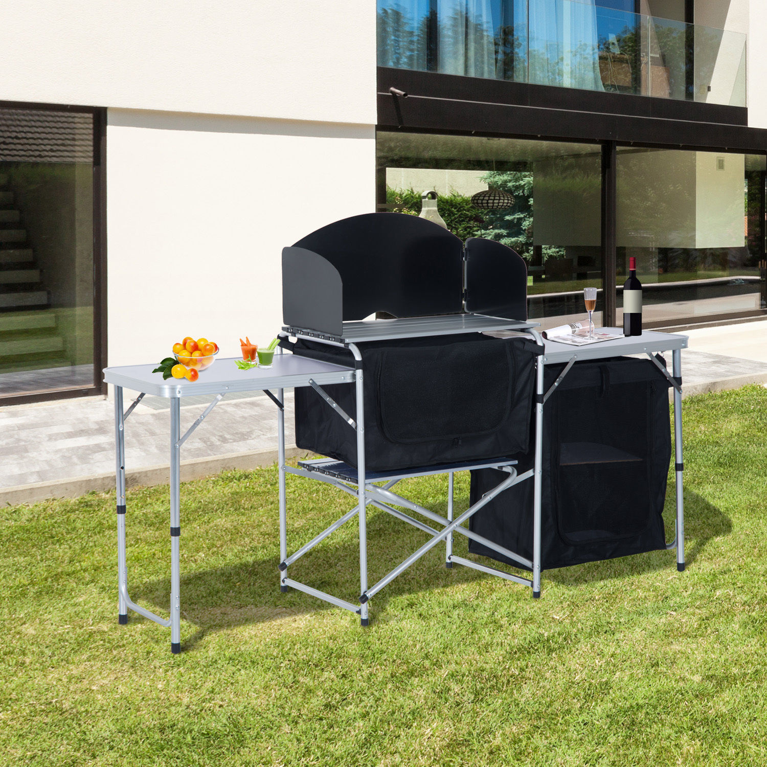 Camping Kitchen Picnic Table Cabinet Folding Cooking