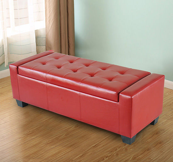 HomCom Modern Ottoman Bench Seat Faux Leather Sofa Shoe Storage ...