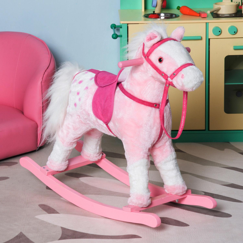 Plush Rocking Horse Ride-on Toy Pony Kids GirlsToddlers Gift Rocker w// Sound