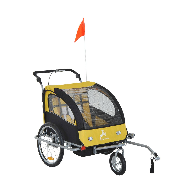 Aosom Elite II Double Baby Bike Trailer Stroller Child ...