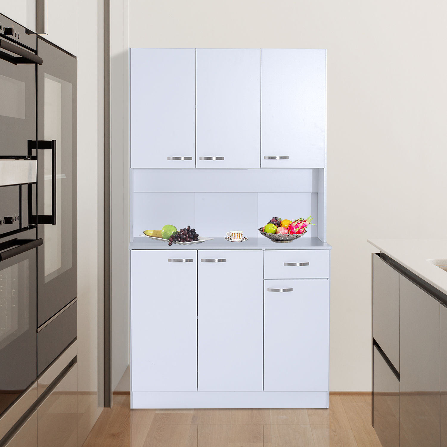 Details about HOMCOM Kitchen Pantry Cupboard Wooden Storage Cabinet  Organizer Shelf White