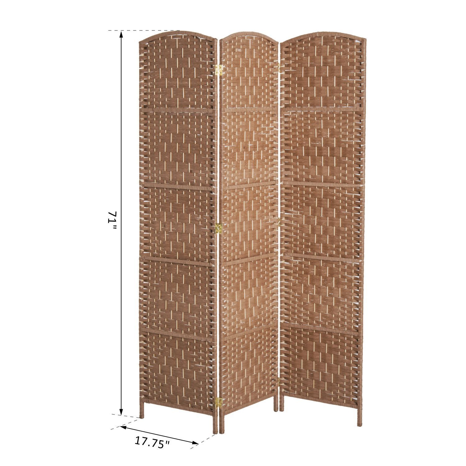 3 Panel Resin Wicker Folding Room Divider Indoor Privacy Screen ...