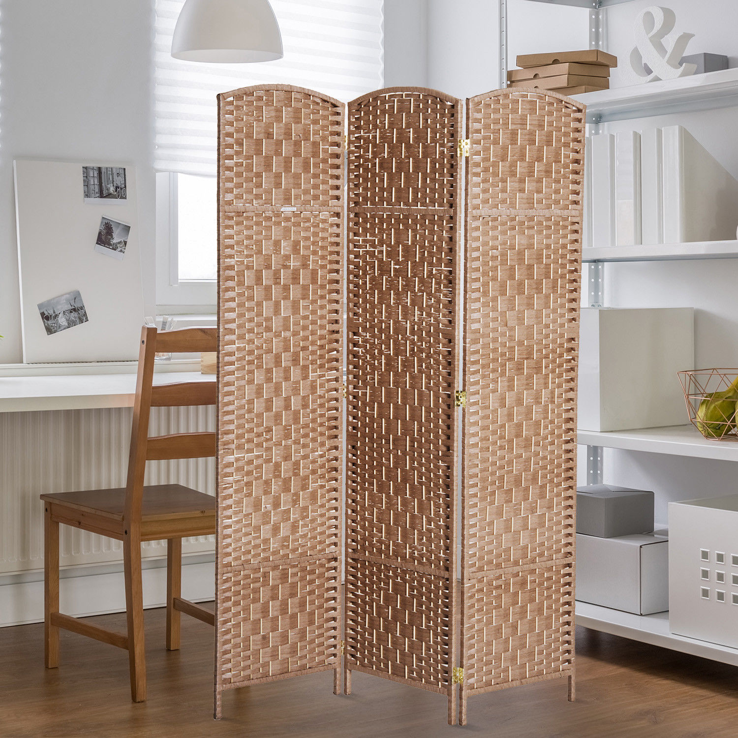 3 Panel Resin Wicker Folding Room Divider Indoor Privacy Screen Home ...