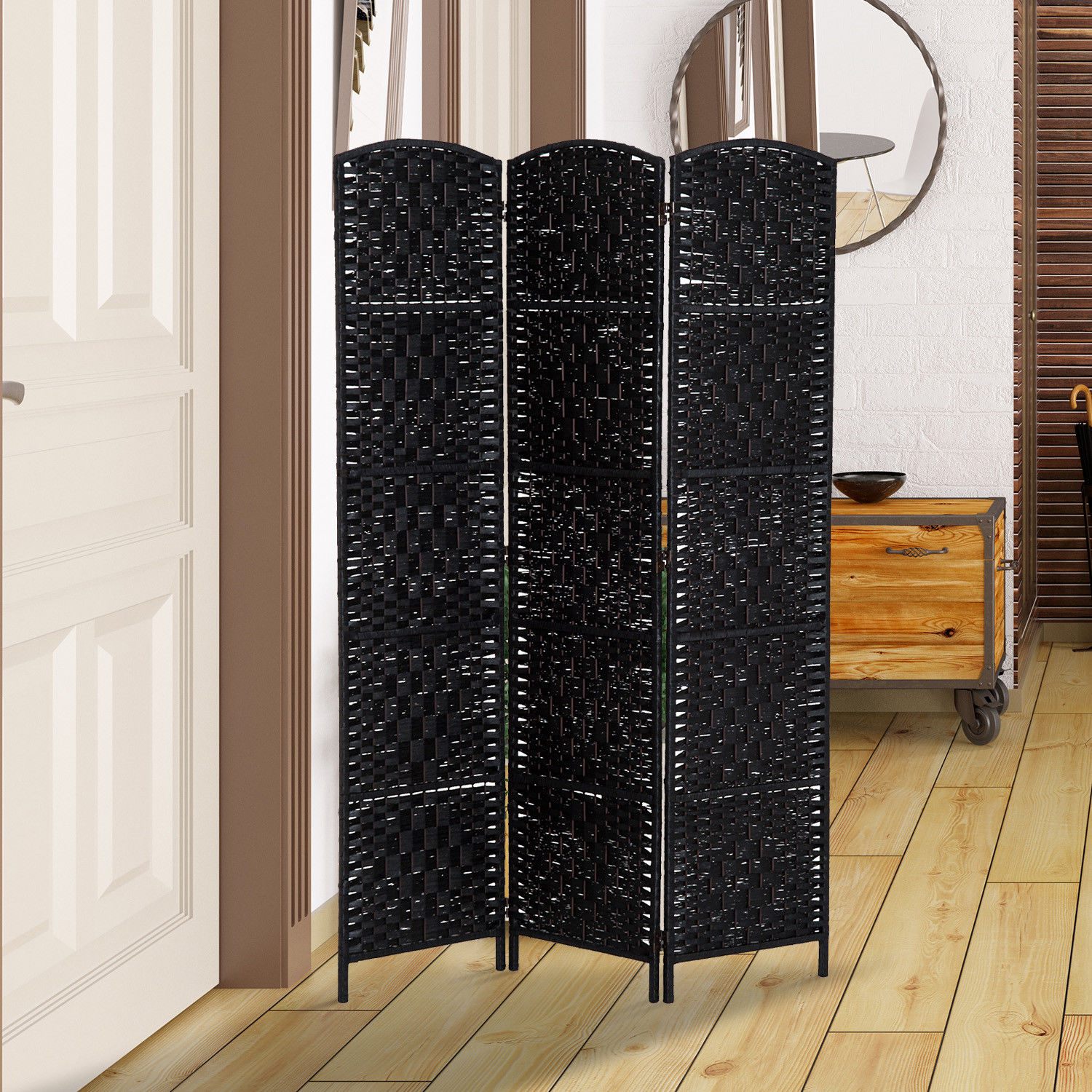 3 panel resin wicker folding room divider indoor privacy screen home