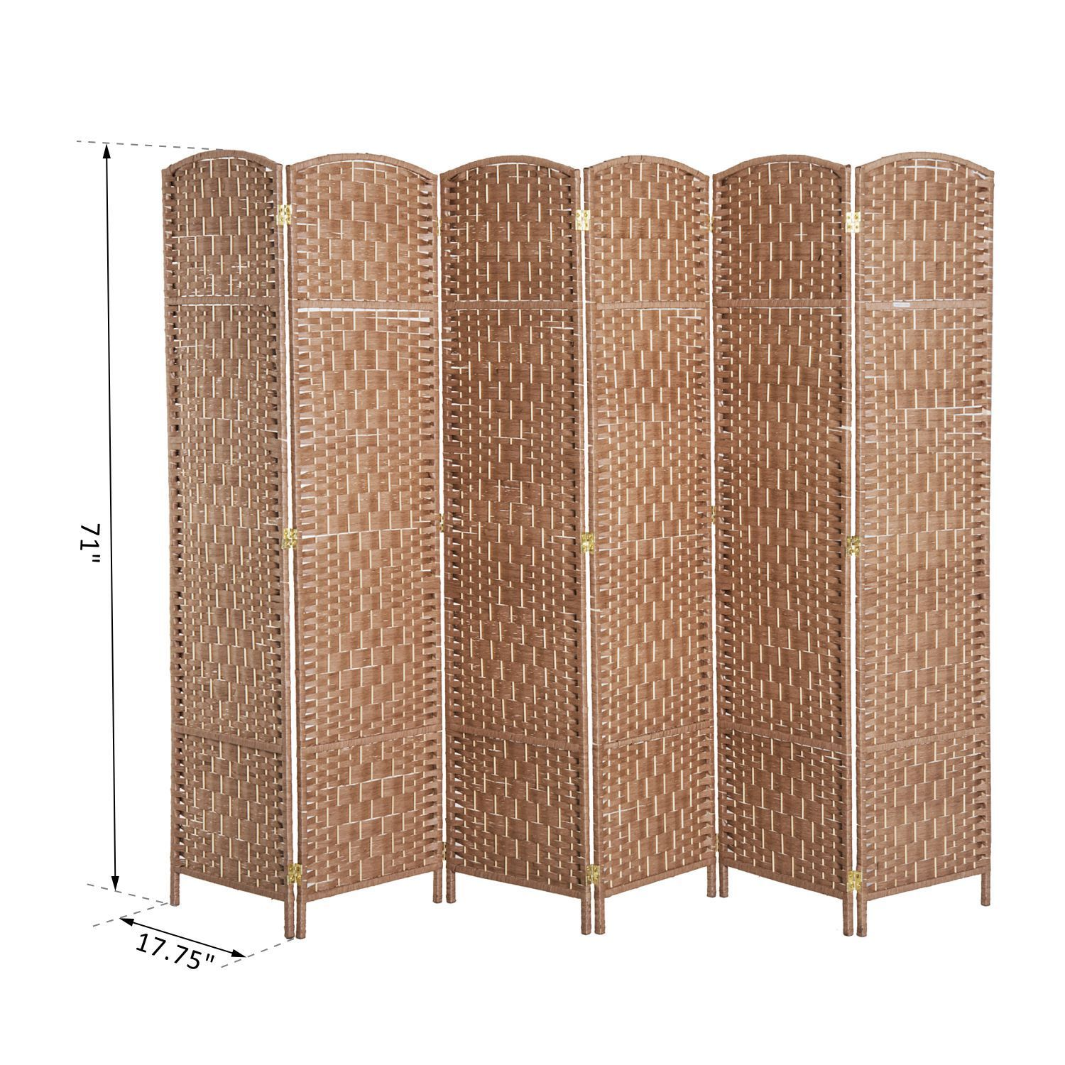 6 Panel Folding Room Divider Resin Wicker Privacy Screen Home Indoor