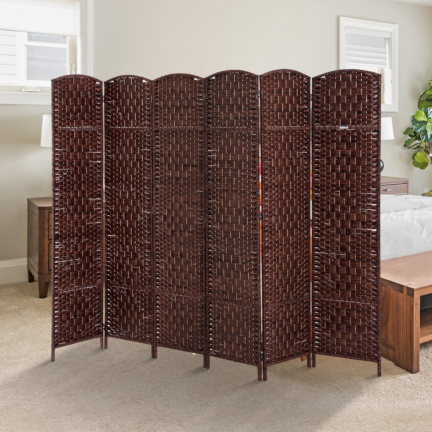 6 Panel Folding Room Divider Resin Wicker Privacy Screen Home ...