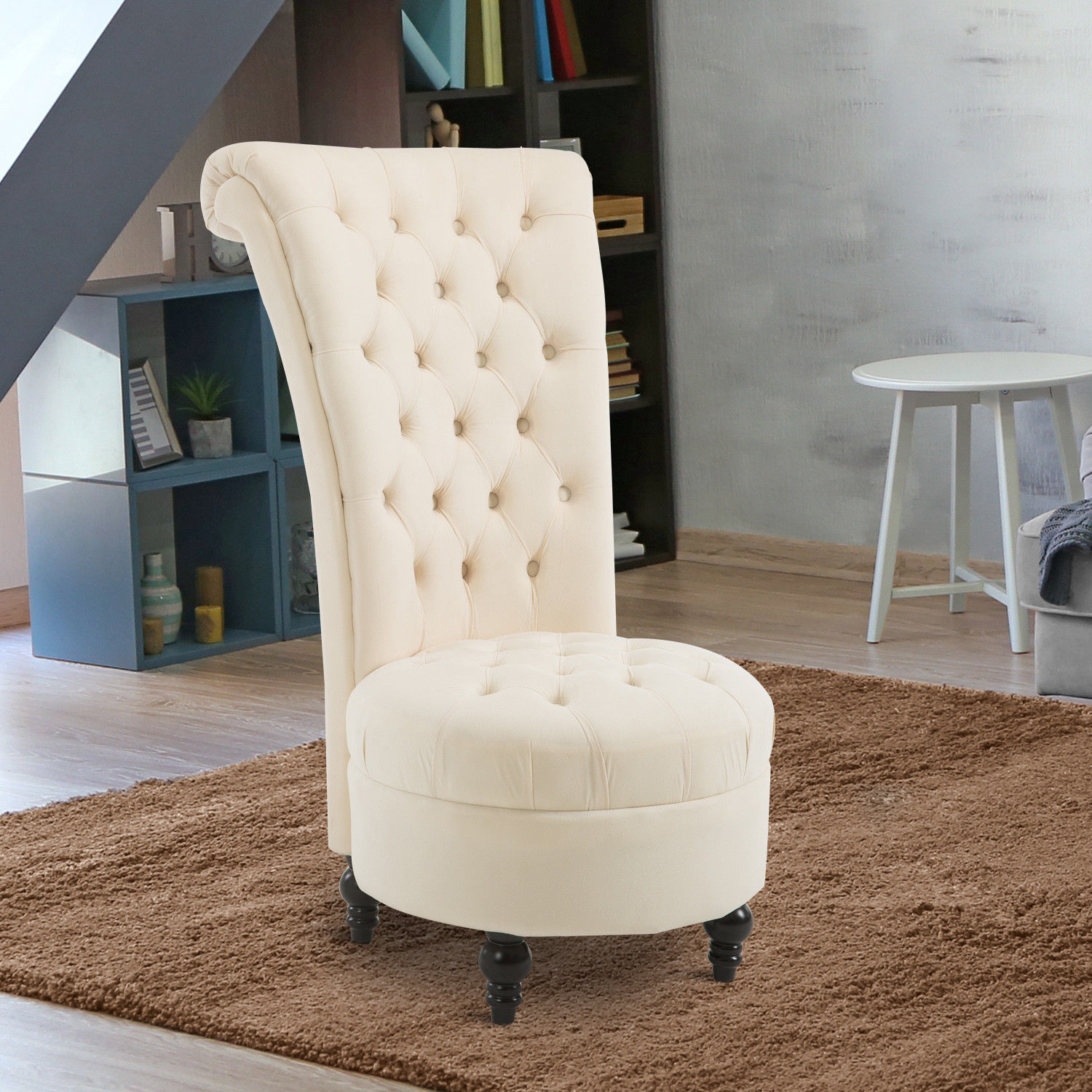 Groovy Details About Homcom Velvet Accent Chair Upholstered High Back Tub Sofa Living Room White Bralicious Painted Fabric Chair Ideas Braliciousco