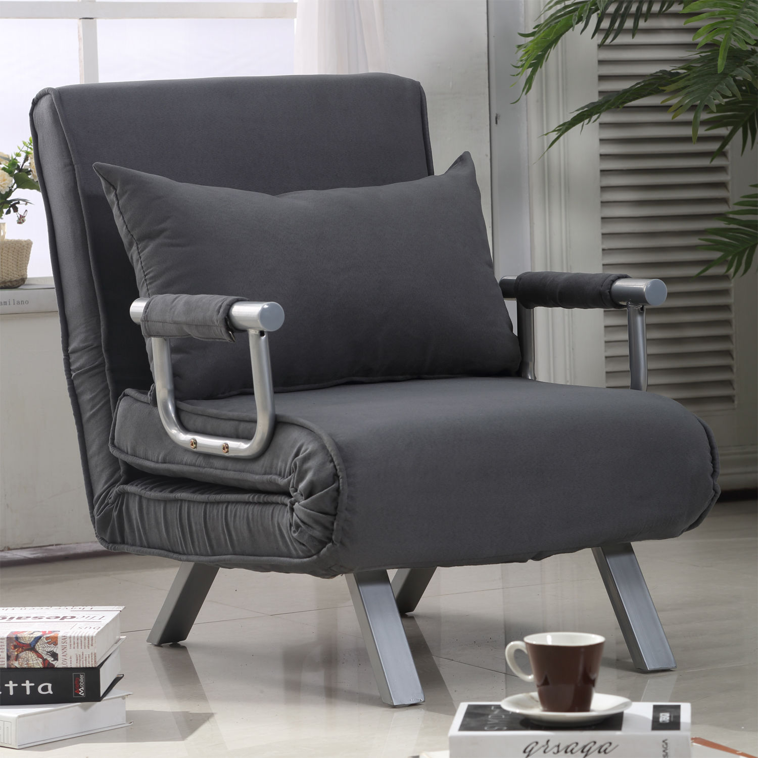 Details About Homcom Convertible Sleeper Armchair Foldable Sofa Bed Lounge Couch W Pillow