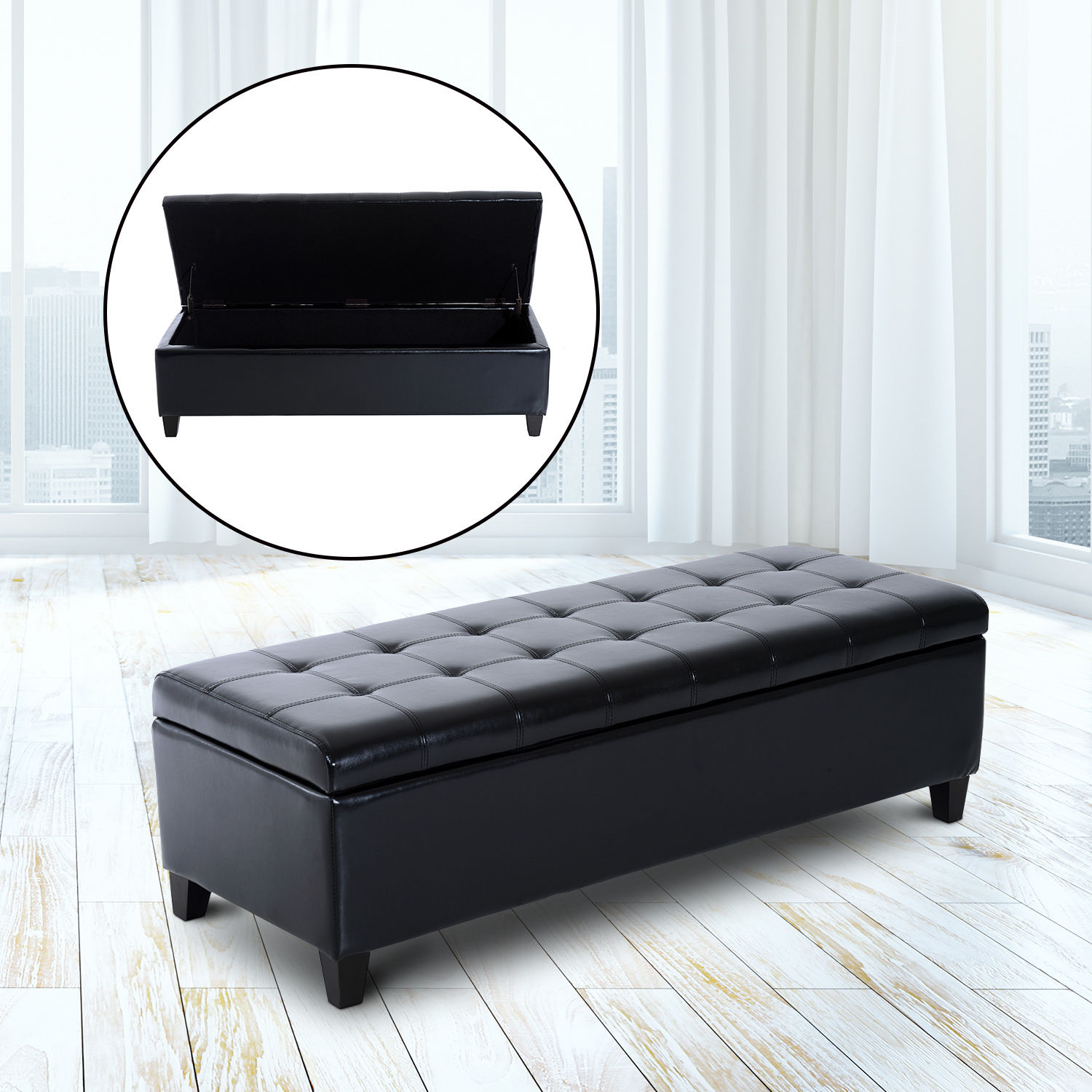 Peachy Details About Homcom Black Storage Ottoman Bench 3 Seater Pu Leather Furniture Foot Stool Andrewgaddart Wooden Chair Designs For Living Room Andrewgaddartcom