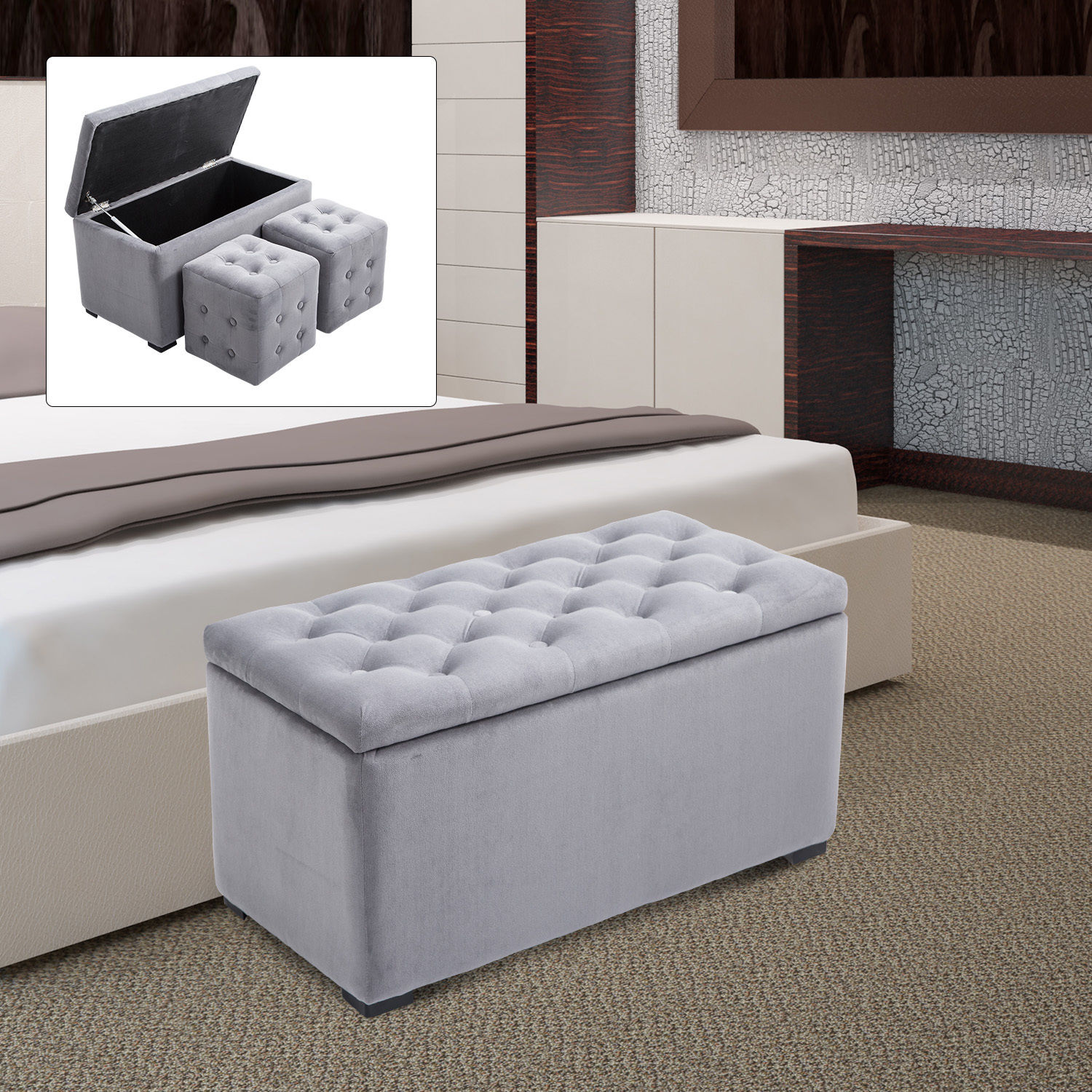 Magnificent Details About 3 Piece Tufted Microfiber Storage Bench With 2 Cube Ottoman Set Home Furniture Ncnpc Chair Design For Home Ncnpcorg