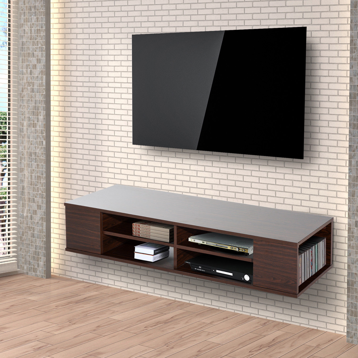 modern 47 floating wall mounted tv stand unit cabinet. Black Bedroom Furniture Sets. Home Design Ideas
