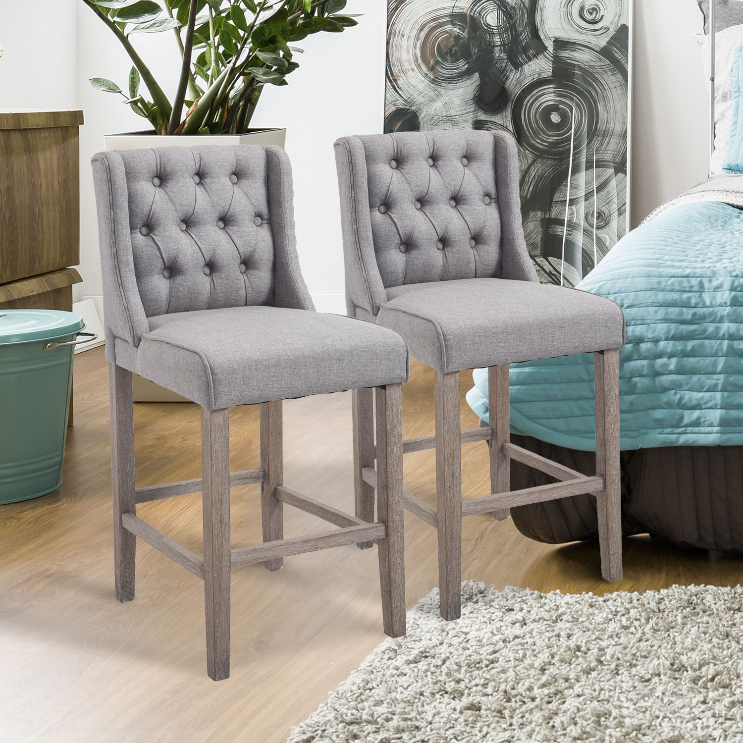 Amazing Details About Set Of 2 Counter High Dining Chair Bar Stool Elegant Button Tufted Furniture Cjindustries Chair Design For Home Cjindustriesco