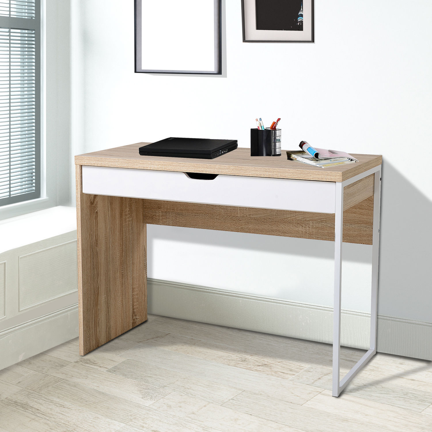 Details about white computer desk work station writing table home office furniture w drawer