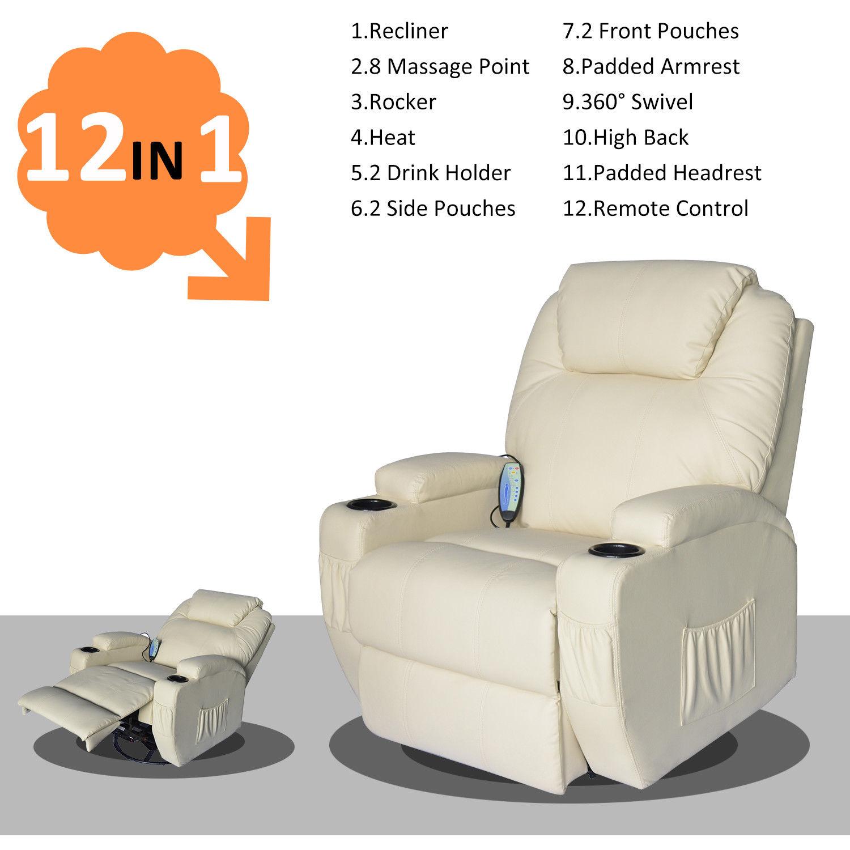 Image Is Loading HOMCOM Massage Sofa Recliner Chair Ergonomic  Heated Vibrating