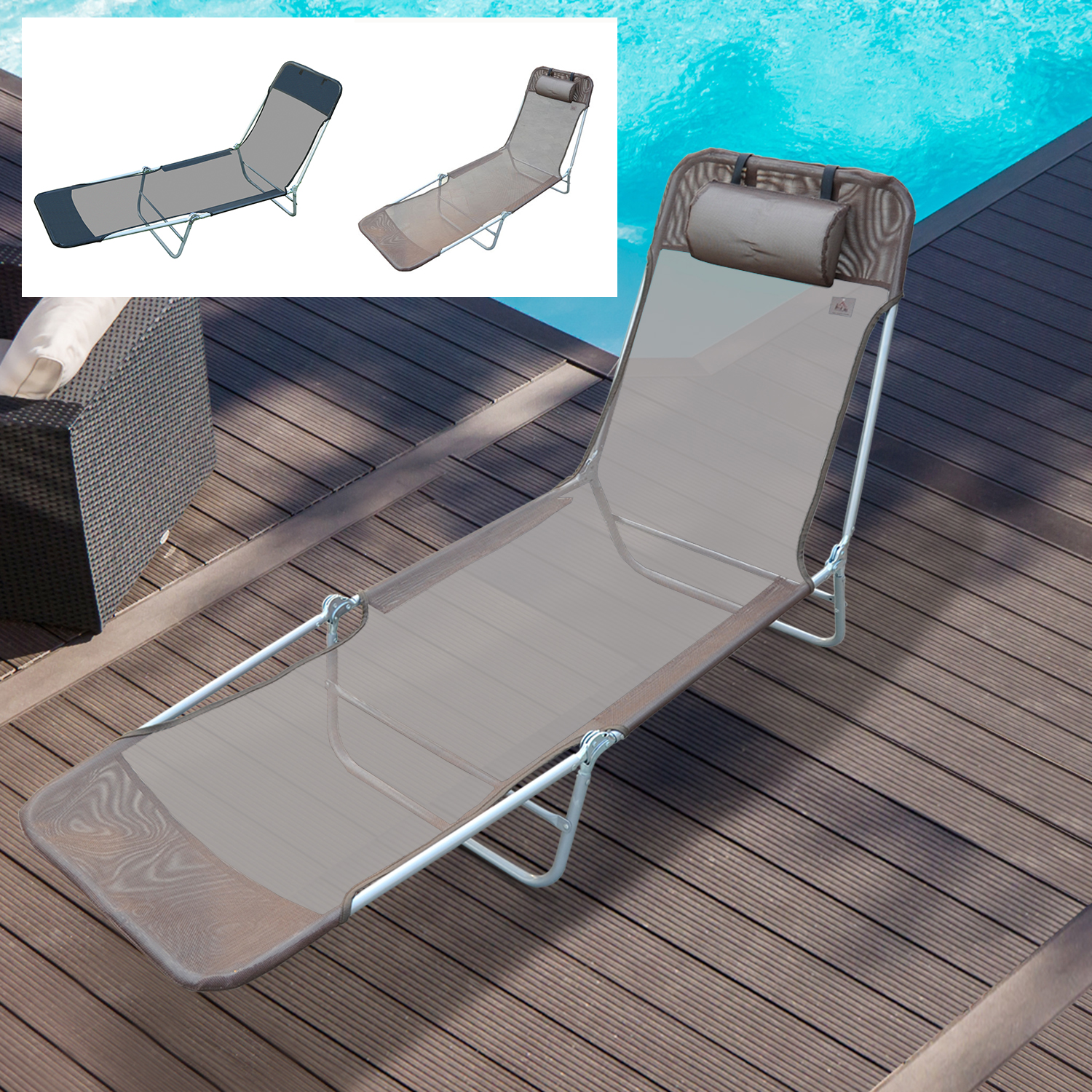 Admirable Details About Beach Lounge Chair Sun Recliner Folding Adjustable Garden Teslin 2 Colors Caraccident5 Cool Chair Designs And Ideas Caraccident5Info