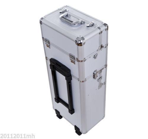 HOMCOM-Aluminum-Rolling-Makeup-Train-Case-Trolley-Organizer-Storage-Box-Lockable