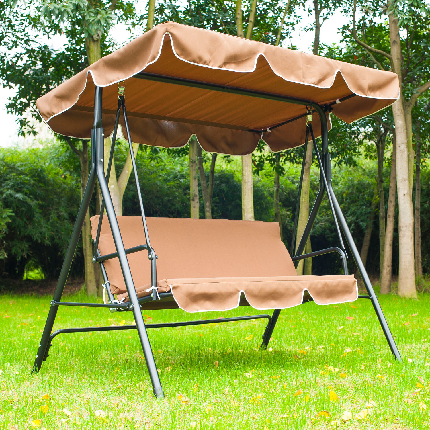 metal 3 seater outdoor swing chair lounger with frame and canopy garden hammock ebay. Black Bedroom Furniture Sets. Home Design Ideas