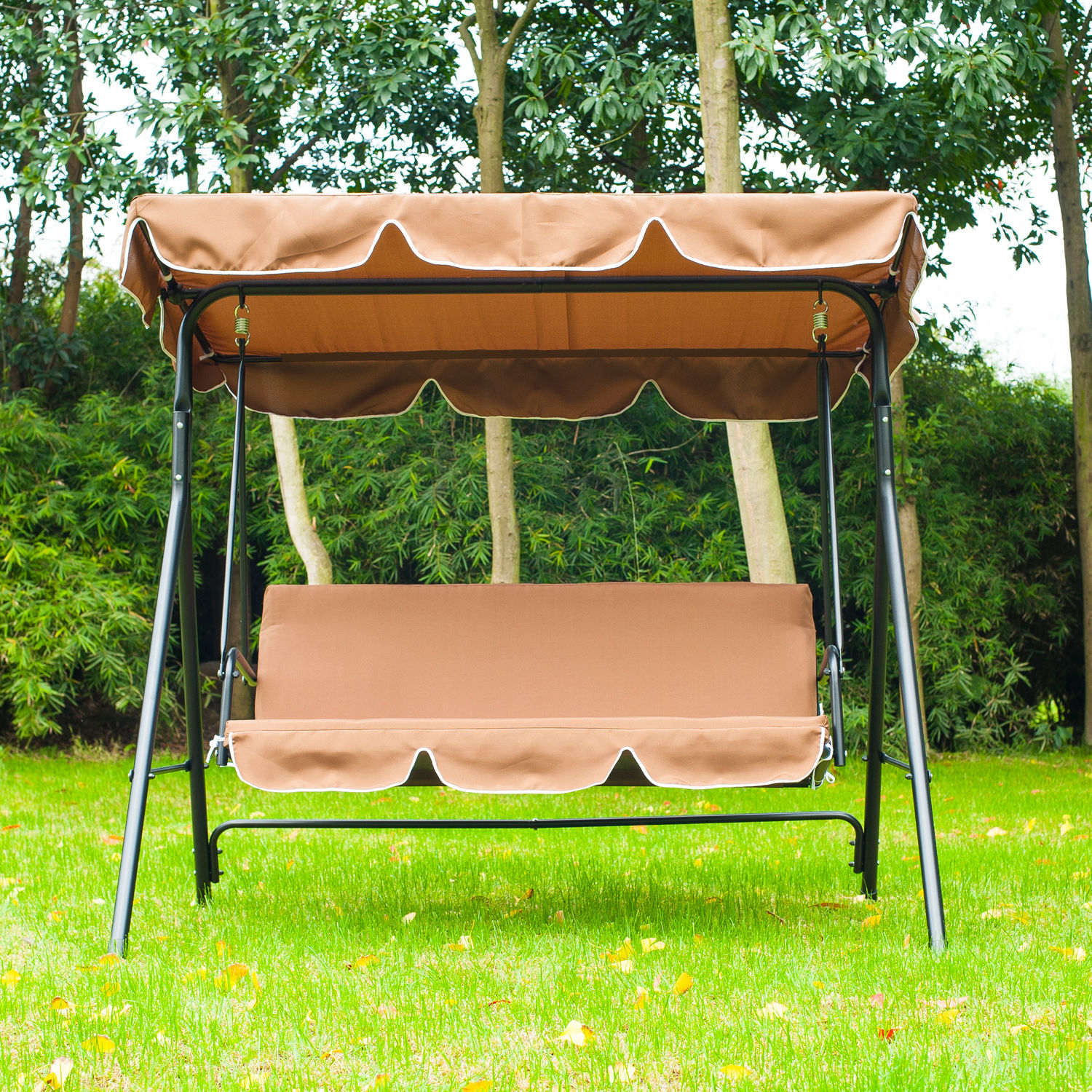 Metal 3 Seater Outdoor Swing Chair Lounger with Frame and ...