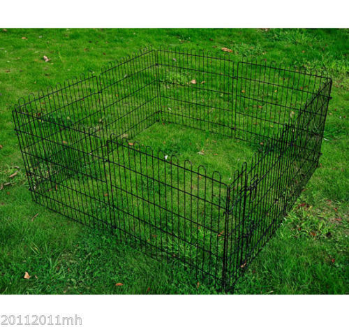 8-Panel-Metal-Pet-Playpen-Dog-Puppy-Cat-Rabbit-Exercise-Fence-Yard-Kennel-Black