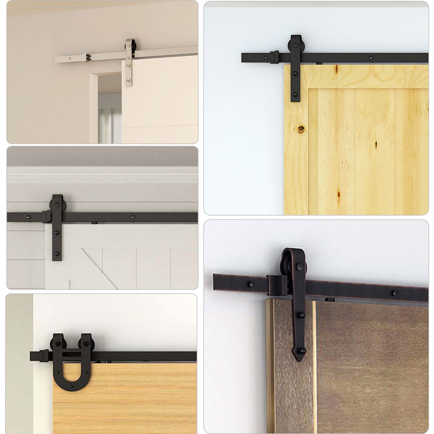 Room Steel Sliding Barn Wood Door Hardware Track Kit for Thickness 40-45mm 12Ft
