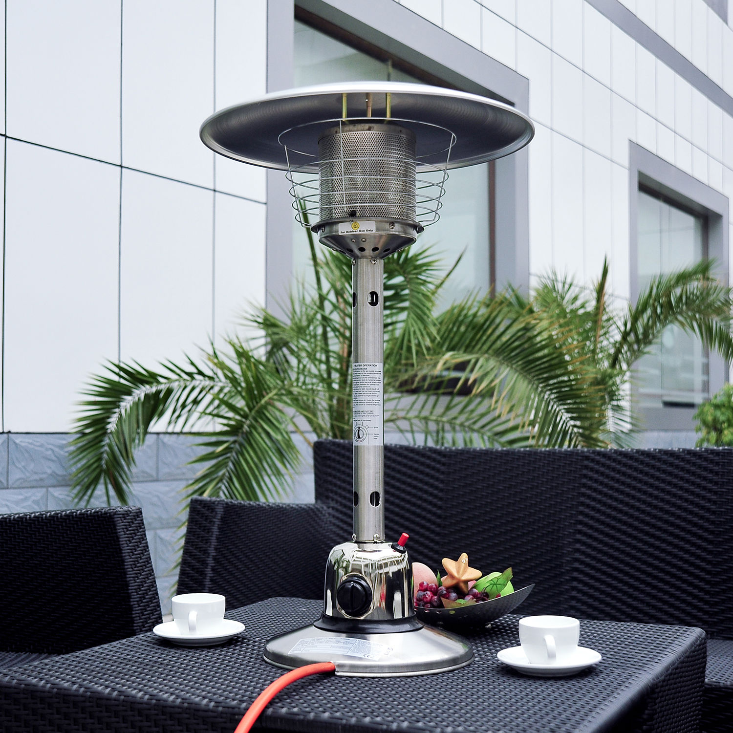 Outsunny 4KW Table Top Gas Patio Heater Stainless Steel