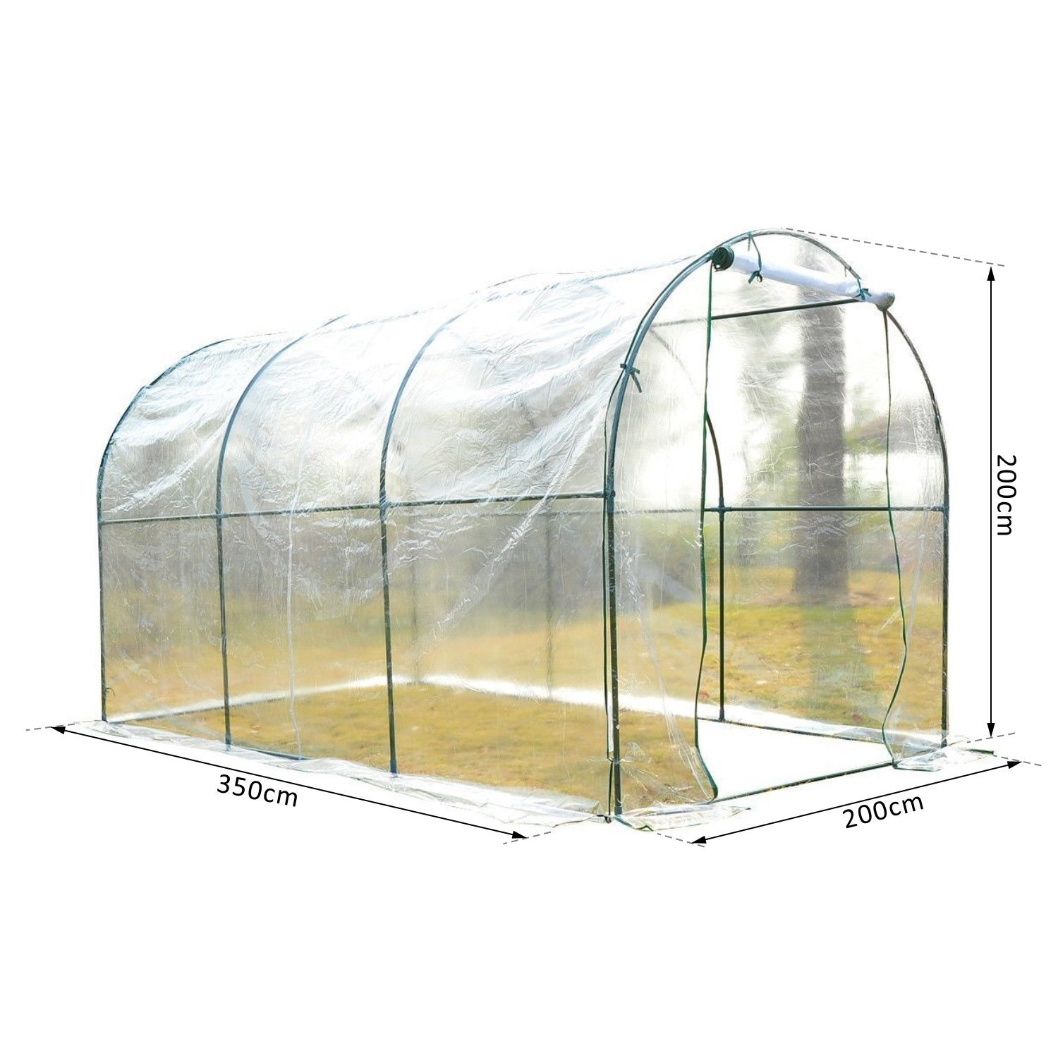 Transparent-Polytunnel-Greenhouse-Poly-Tunnel-Green-House-Steel-Frame-PVC-Cover thumbnail 9
