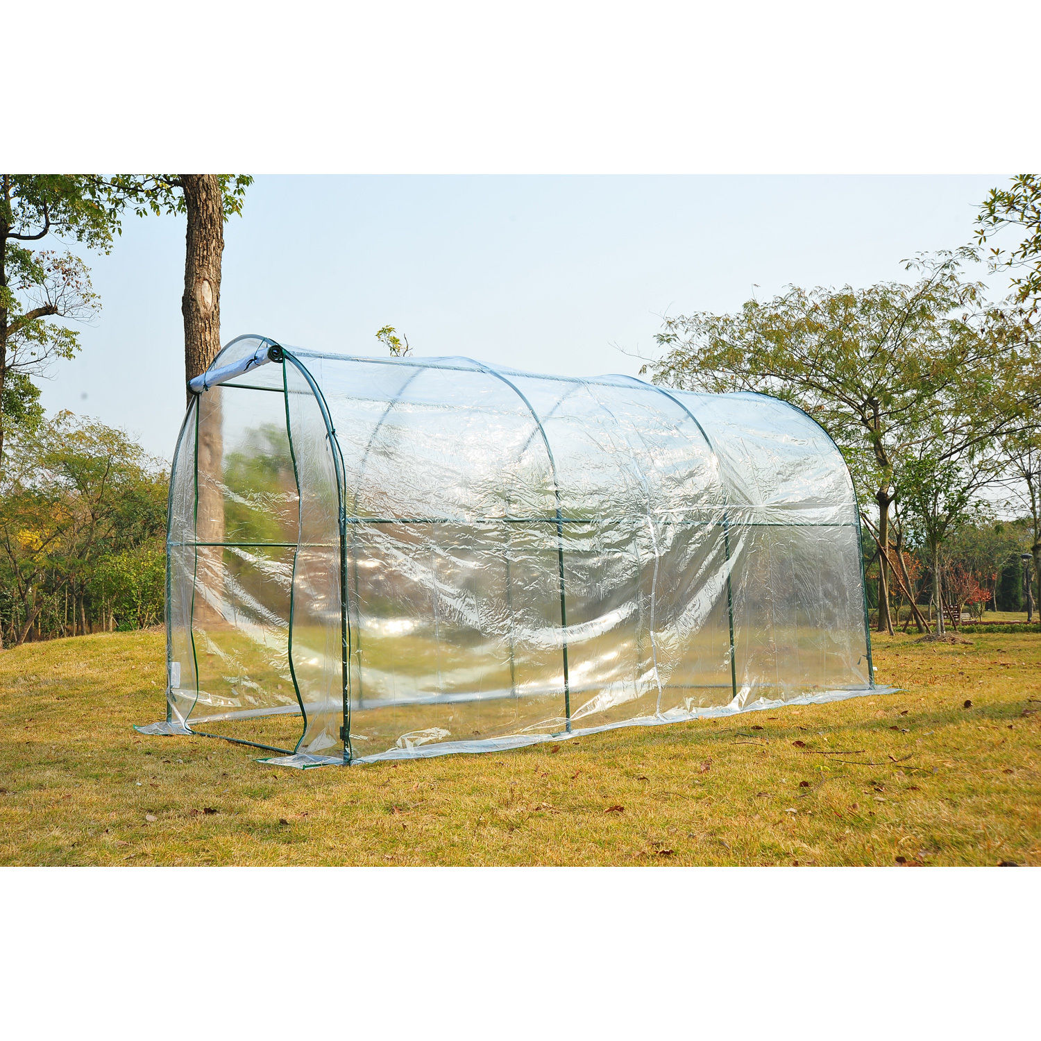 Transparent-Polytunnel-Greenhouse-Poly-Tunnel-Green-House-Steel-Frame-PVC-Cover thumbnail 12