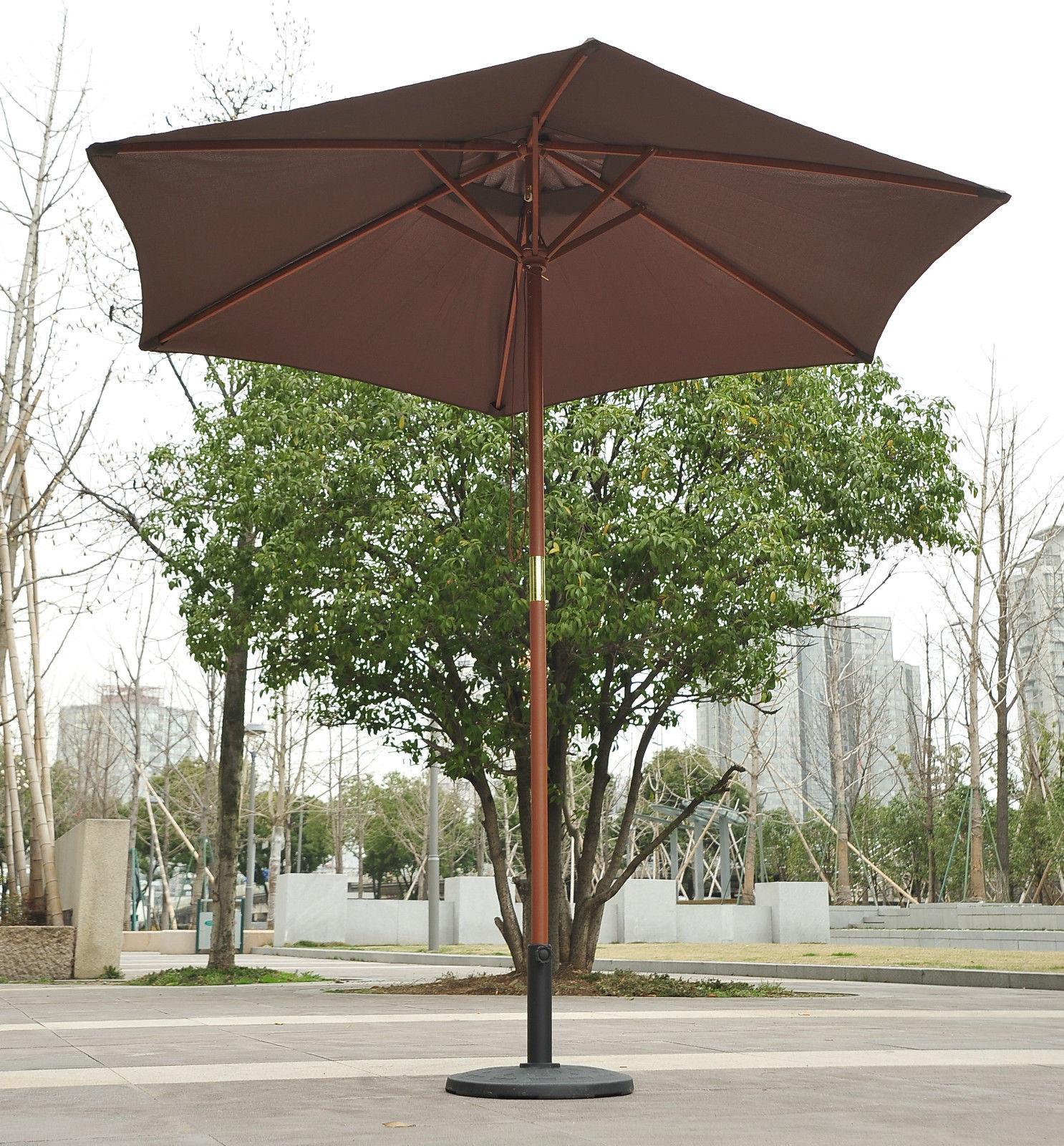 wood wooden garden parasol sun shade patio outdoor umbrella canopy new ebay. Black Bedroom Furniture Sets. Home Design Ideas