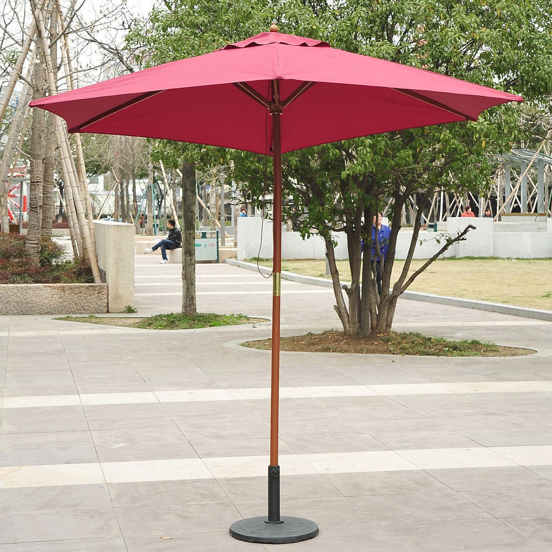 2 5m Wood Wooden Garden Parasol Sun Shade Patio Outdoor